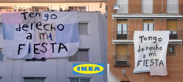 Pancarta a favor de las fiestas del Toro de la Vega, que recuerda a la publicidad de 2011 de IKEA.