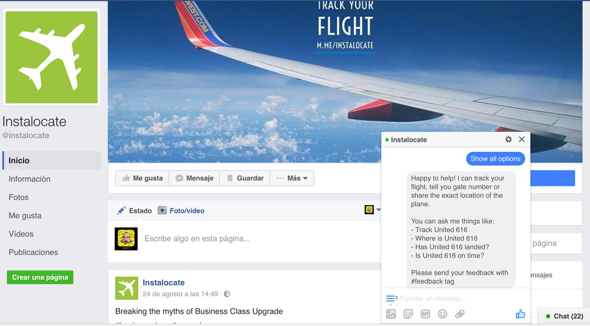 Así puedes ver la información de tu vuelo en Facebook Messenger