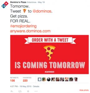 Pide pizzas por twitter con un emoji