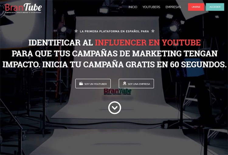 Brandtube, plataforma de marketing con youtubers