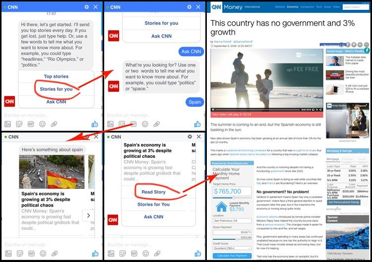 Así es el chat bot de la CNN en Facebook