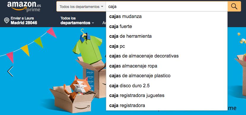 Autosuggested keywords en Amazon